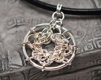 Sterling silver celtic round knot chainmaille pendant