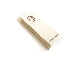 Plantable paper bookmark for the book lover, librarian, gardener - Made from recycled paper & wildflower seeds with hand-carved acorn stamp