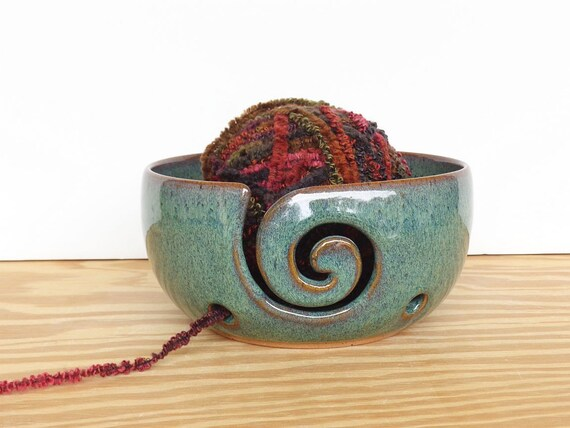 Yarn Bowl Ceramic Stoneware Knitting Bowl in Sea Mist glaze - Spiral Design with 2 holes