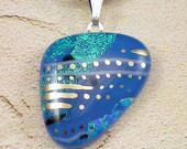 Deep Blue Sea - Opaque Blue dichroic fused glass pendant hand painted in genuine white gold