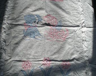 Vintage Handmade Crib Blanket Mid 1950's