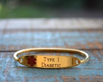Gold Plated Medical Alert Bangle Bracelet, ID Bracelet, Custom Engraved Medical Bracelet