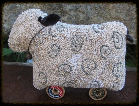 Primitive Willie the Sheep Needlepunch ePattern PDF by primitivebettys
