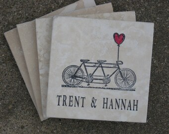 Custom Wedding Coasters  - Bicycle Coasters - Set of 4