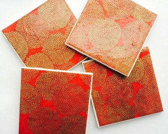 Red and Gold Tile Coasters (set of 4)