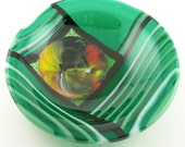 Striped Organic Colorblock Fused Glass Candy Dish Bowl in Teal Emerald Sage White Black