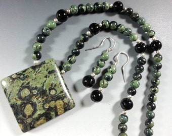 ON SALE was 66.00 Beautiful Kambaba Jasper Necklace and Earring Set with Kambaba Jasper and Black Onyx Beads