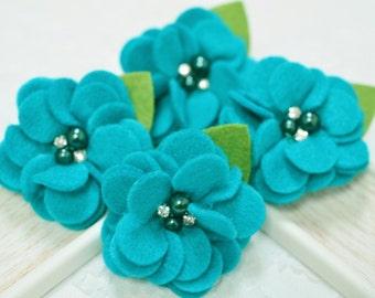 New! 4pcs Handmade soft felt flowers--turquoise (FT1031)