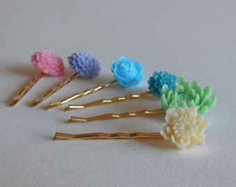 Flower cabachon Hair pins Pick any 3 pick your bobby pin color