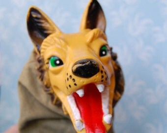 Vintage 1960s Wolf Puppet Toy My Grandma...What Big Teeth You Have!
