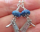 Silver Grogger Purim Judaica earrings with gemstone agates - choice of color