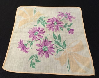 Vintage Purple Floral Print Ladies' Hankie/Handkerchief