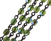 Rosary Chain, Olivine Green AB, 4 MM Fire Polished, Czech Glass Beads, Black Link, 1 Foot, C433