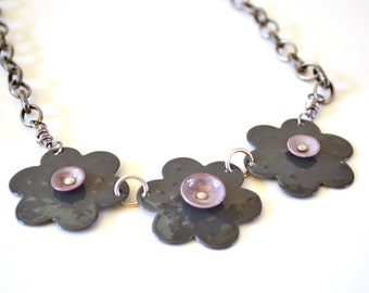 Flower Enamel Necklace Gray  Bib Necklace Grey