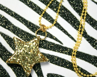 Gold Star Necklace, Glitter Resin Pendant, Rave Star Jewelry