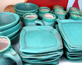 Turquoise Service for Eight Dinnerware Set - Made to Order