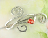 Silver Shawl Pin/Brooch Hand Formed Spiral Infinity with Bamboo Coral