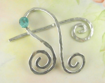 Silver Shawl Pin/Brooch Hand Formed with Turquoise