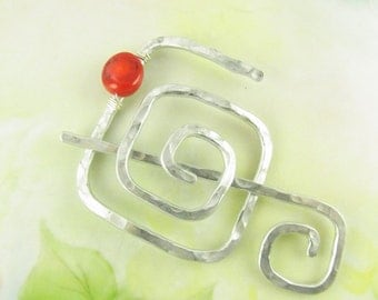 Silver Shawl Pin/Brooch Hand Formed Abstract Square with Bamboo Coral