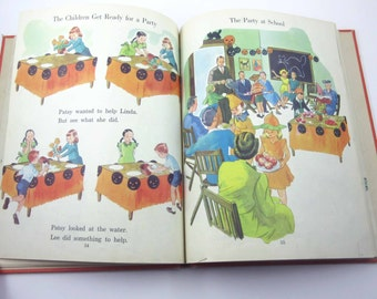 Stories About Linda and Lee Vintage 1940s Children's School Reader or Textbook with Halloween and Scottie