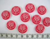 28 pcs of  Laser Engraved Owl Button   -  18mm Pinkish Red