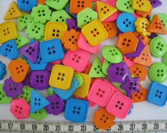 50 pcs of Super Bright Pink Lime Green Yellow Orange Teal Purple Buttons - Square Flower Triangle Star Heart -17 - 20 mm