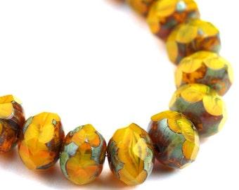 Czech Glass Beads Fire Polished Gemstone Donuts 9x6mm Sunflower Yellow Crystal Picasso (12) CZF749
