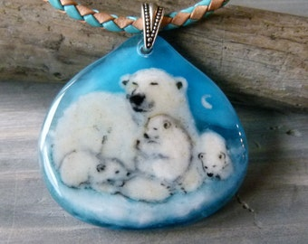Polar bear necklace , mom and babies in the night - fused glass jewelry - Fused glass pendant