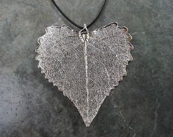 Real Leaf Pendant - Sterling Silver - Cottonwood