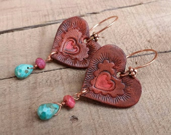 Hand Tooled Leather Earrings  - Valentine - Heart Earrings - Dark Brown Leather - Turquoise - Copper - Western Jewelry - Cowgirl Jewelry