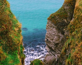 Northern Ireland, View At Carrick - a - Rede, Nature Photograph Irish Photograph Seascape Decor Turquoise Fine Art Office Decor Wall Artwork