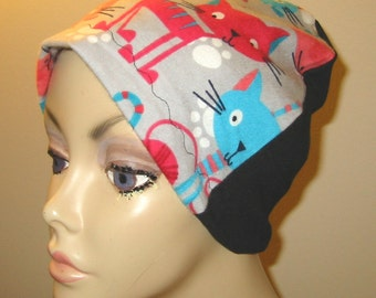 Kids Cats in Turquoise and Pinks  Flannel Sleep Cap, Turban, Chemo Hat