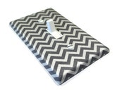 Gray and Silver Shimmer Chevron Light Switch Cover Metallic Home Decor 1649A