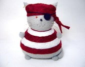 Pirate cat, Pin cushion cat, Red and white striped pincushion, Gray felt cat, Cute pirate gifts, Eye patch pirate, Fat cat, MTO