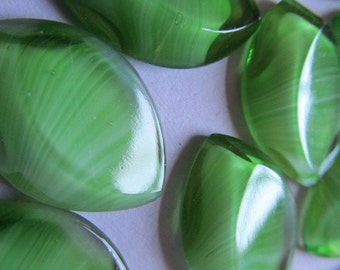 Vintage Glass Cabochon (2) Lime Green Givre Flat Back Stones Cabs