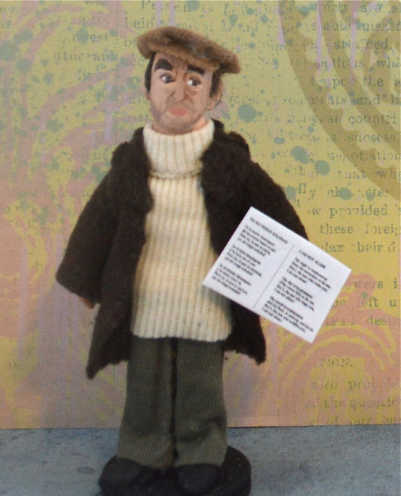 Pablo Neruda Author and Writer Doll Art Miniature by Uneek Doll Designs