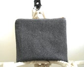 Grey military wool clutch, iPad mini case, large utility pouch - eco vintage fabrics