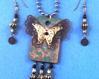 Butterfly and coins necklace & earrings repurposed OOAK