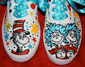 Girl's Custom Painted CAT in the HAT Inspired Shoes Any Size