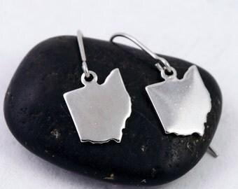 Ohio Earrings, Silver State Charm Earrings, ohio jewelry