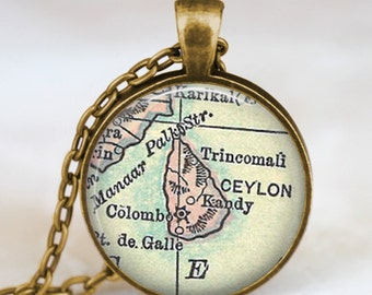 Srilanka Ceylon vintage map necklace, Srilanka map pendant, Srilanka map jewelry ,Ceylon  map pendant jewelry , ceylon art pendant