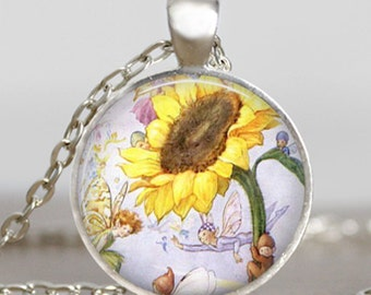 Sunflower fairies necklace , sunflower vintage  jewelry ,sunflower charm , silver plated necklace, whimsy jewelry,handmade necklace
