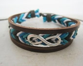 Blue and White Braided Infinity Cuff Leather Wrap Bracelet