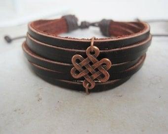 Leather Bracelet Women's Men Copper Celtic Infinity Knot Leather Wrap Bracelet Cuff