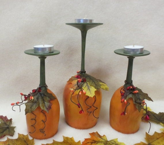 Set of rustic wine glass pumpkin fall centerpiece candle