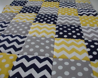 Yellow Navy and Gray Chevrons and Dots Minky Comforter Blanket You Choose Size and Mink Color MADE TO ORDER