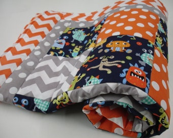 Friendly Monsters Patchwork Minky Blanket You Choose Size MADE TO ORDER No Batting
