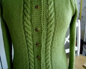 Hand Knit Sweater, Cardigan, ladies, women, hand made, sweater, Size M   Cables