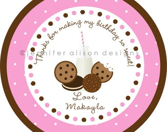 Milk & Cookies Party STICKERS / Cupcake Topper / labels /Thank You Tag / various sizes