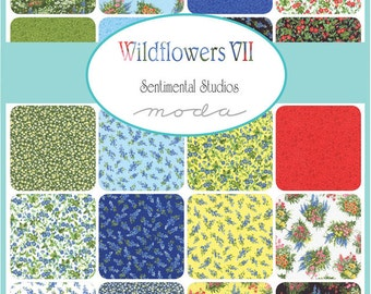 WILDFLOWERS VII - Moda Fabric Charm Pack - Five Inch Quilt Squares Quilting Material Blocks